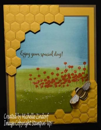 Oh Honey Stampin' Up! Card created by Michelle Zindorf - Dragonfly Dreams Stamp Set