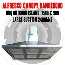 ALFRESCO,BBQ OUTDOOR ISLAND CANOPY RANGEHOOD 1500 X 900 LARGE SUCTION 2400m/3
