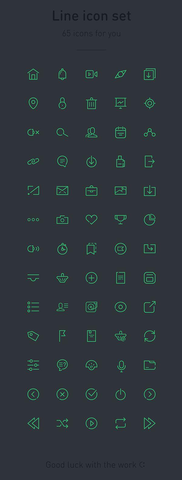 65 vector icons by Pavel Kozlov, via Behance