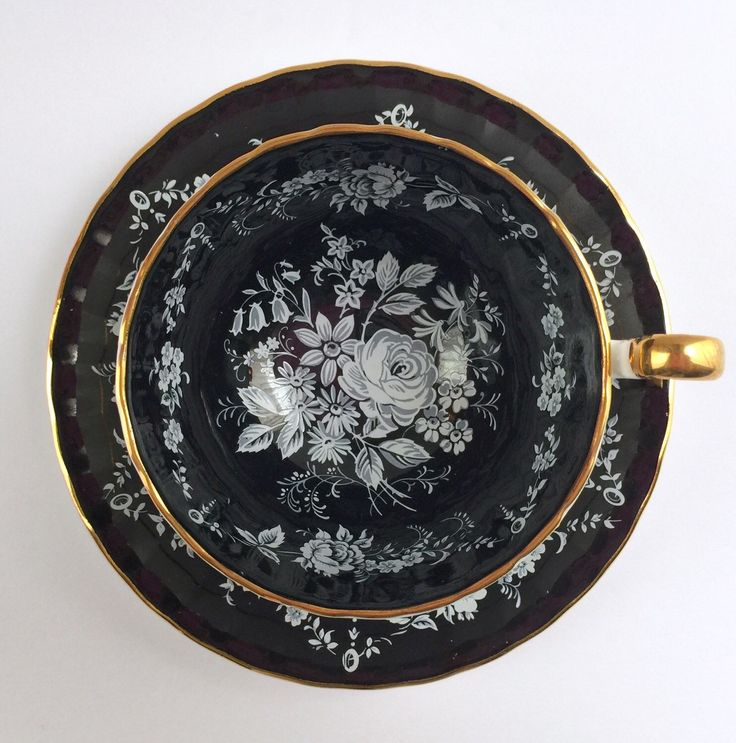 Black Aynsley China Tea Cup & Saucer by NicerThanNewVintage on Etsy https://www.etsy.com/listing/267942115/black-aynsley-china-tea-cup-saucer