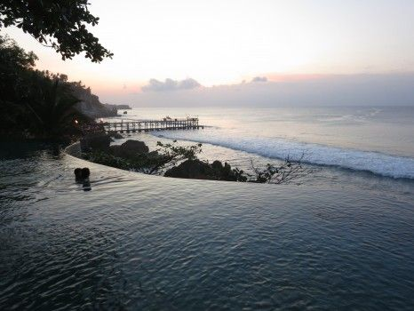 Oceanside pool just after sunset at the Ayana Resort in Bali www.ayanaresort.com