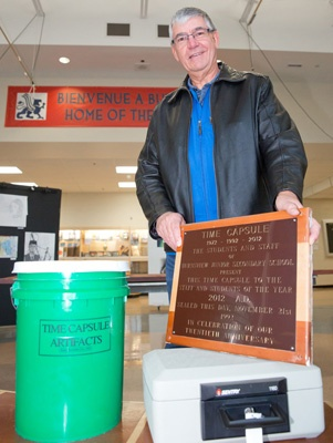 Karl Moser, a former teacher at Burnsview Secondary school, is following though on his former students' time capsule project, The capsule will be opened Friday.