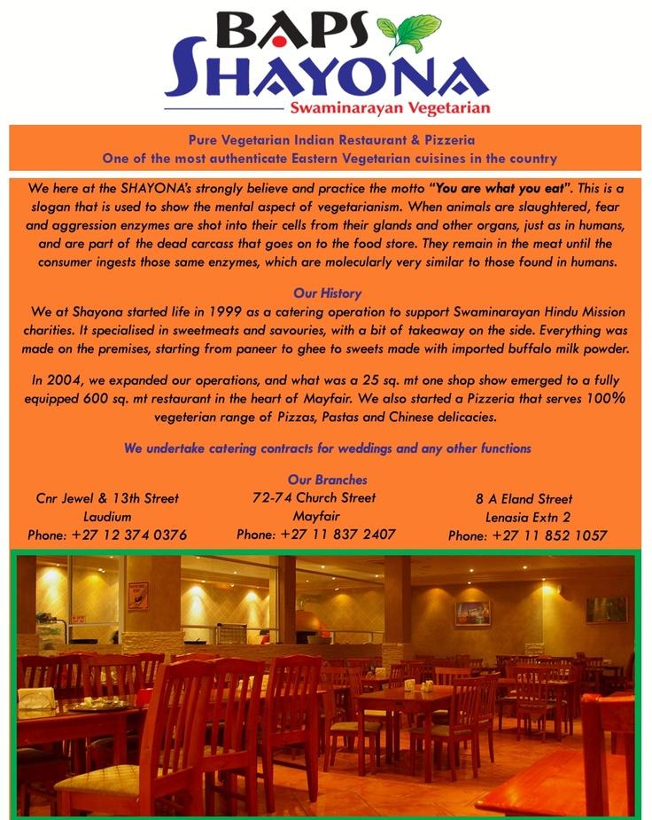 Shayona - Pure vegetarian Indian restaurant.  Church Street, cnr 7 Ave, Mayfair