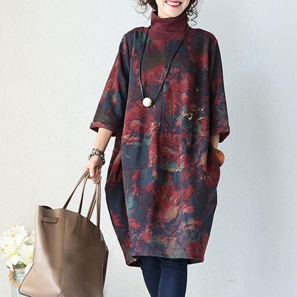 Stitching Cotton Knit Ink Dress