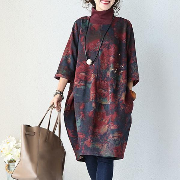 Женская осень Шитье Хлопок Вязать Ink платье