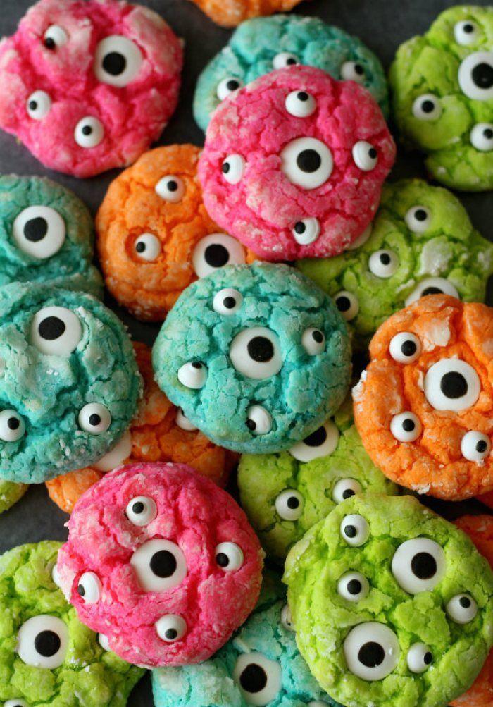 Halloween Desserts - Colorful Monster Eye Cookies