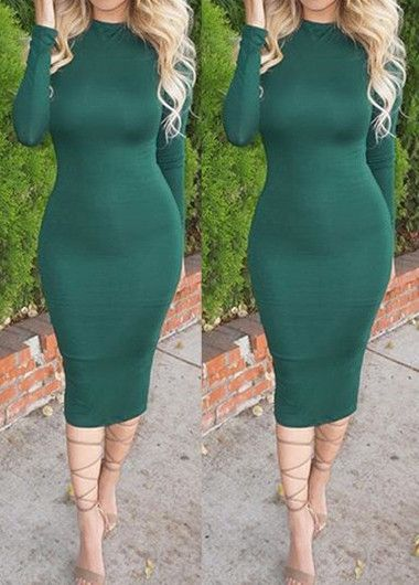 Dark Green Long Sleeve Mid Calf Sheath Dress