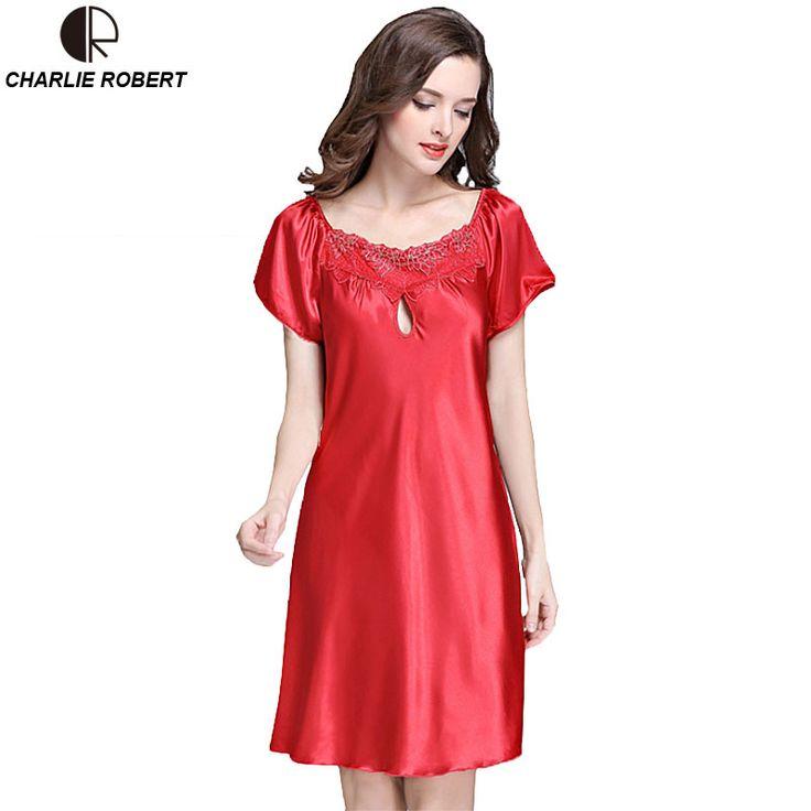 New Women's Sexy Lingerie Satin Silk Night Dress Plus Size S ~ 4XL Sleepwear 9 Color Lace Nightgown Elegant  Summer Dress AP355