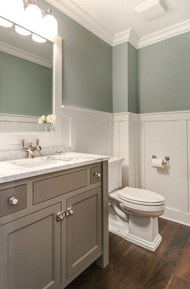 Bathroom Wainscoting. Bathroom wainscoting ideas. Bathroom wainscoting height. Bathroom with walnut flooring and white wainscoting. #Bathroom #Wainscoting  Redstart Construction.