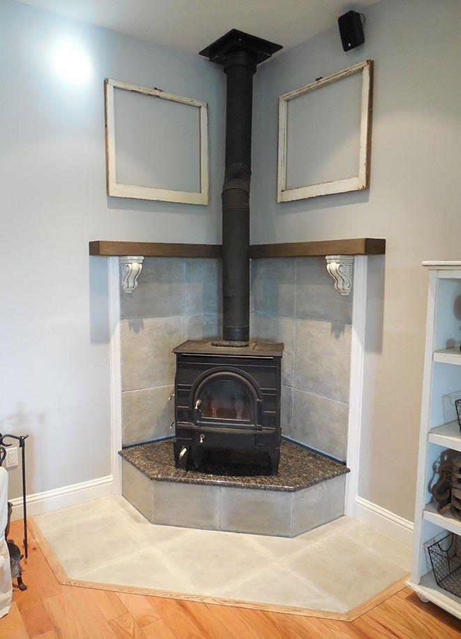 DIY Corner Fireplace Mantel Makeover