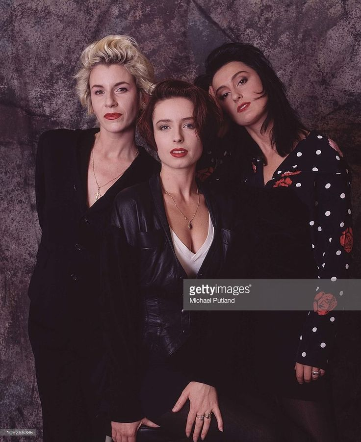 Bananarama group portrait, London, 1988, L-R Sara Dallin, Keren Woodward, Jacquie O'Sullivan.