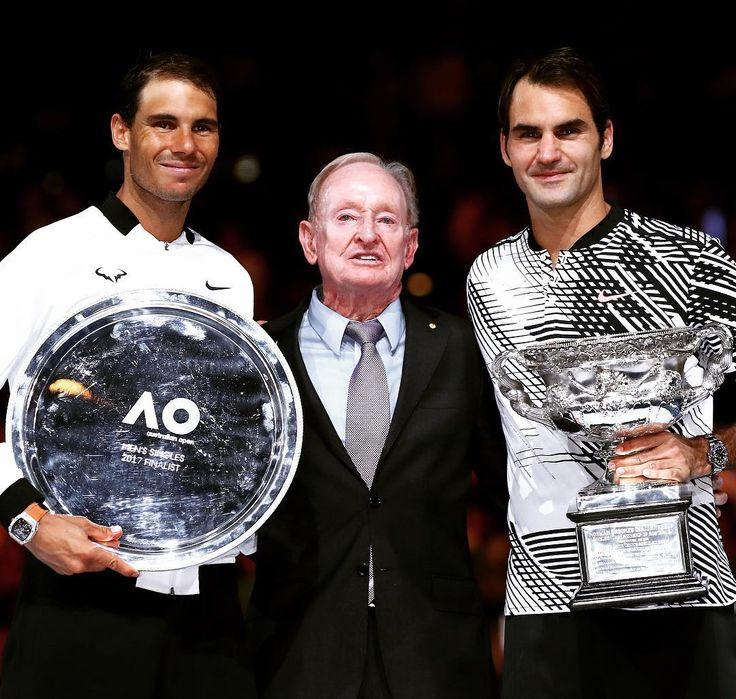 atpworldtourRafa. Rod. Roger. Legends. 🏆 @rafaelnadal @rogerfederer #ATP #tennis #ausopen #Federer #Nadal #Laver 📸: Getty Images
