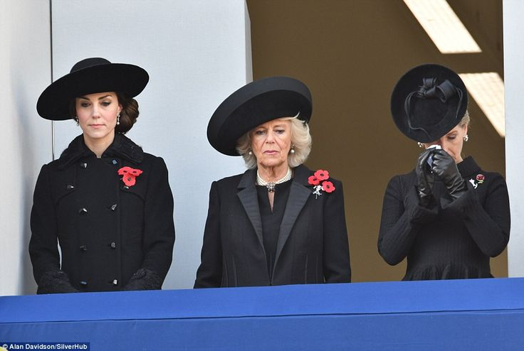 The Duchess of Cambridge  is joined by Camilla and a tearful Sophie, Countess of Wessex as the Royal family led the nation is honouring the war dead