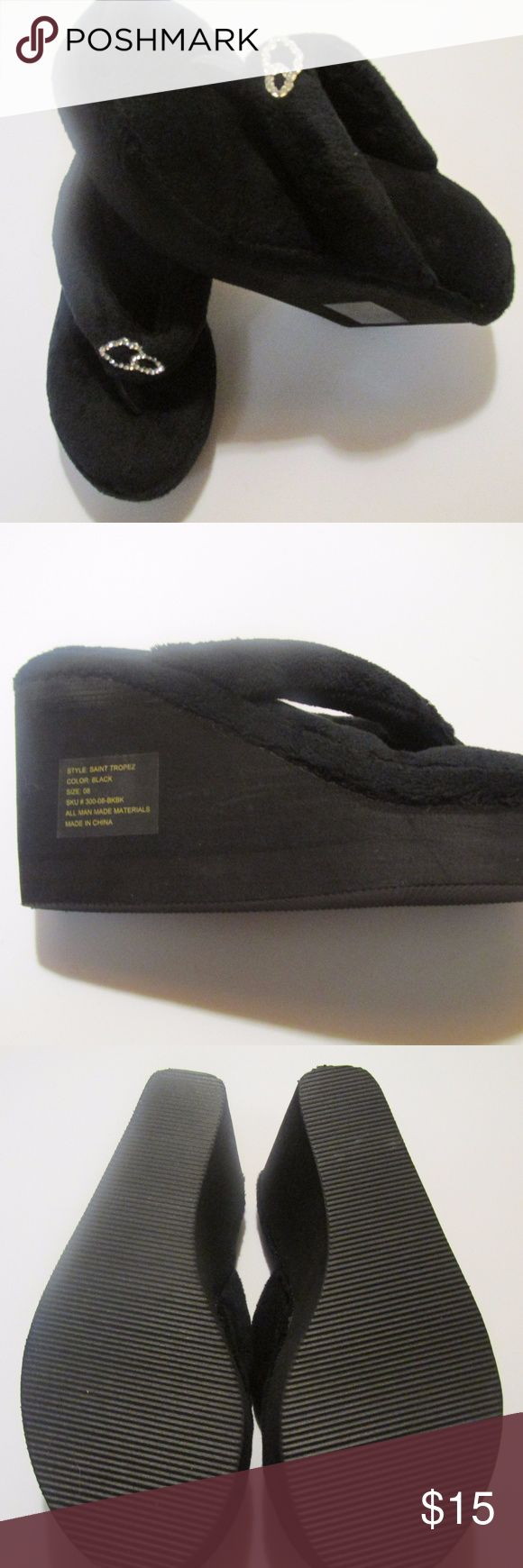 New Clouds Black Flip Flop Slippers Stacked Heel 8 New with original sticker Clouds flip flop style black slippers in a size 8.  Measuring the sole, from the heel to the toe, item measures 9 inches.  Heel height is 3 1/4 inches. Clouds Shoes Slippers