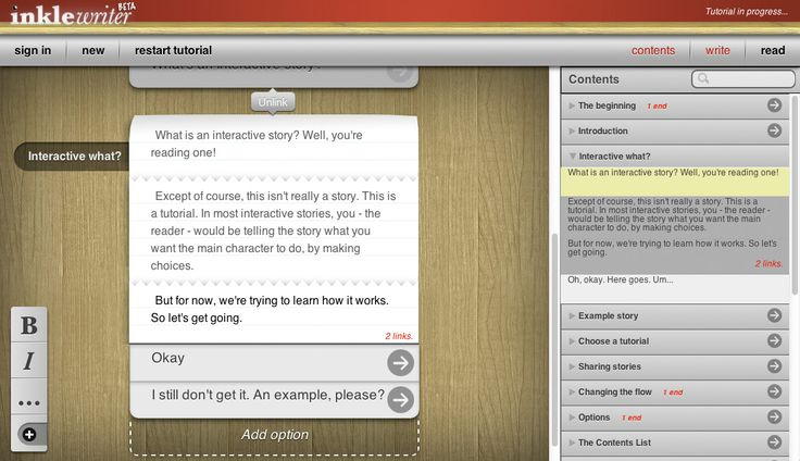 Scrivere storie interattive con Inklewriter