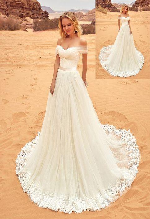 Beach Wedding Dresses,Long Lace Wedding Dresses,Handmade Wedding Gowns,Ivory Wedding Dresses,Simple Bridal Dresses