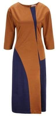 boss hugo regular fit colorblock dress in italian stretch twill s dark