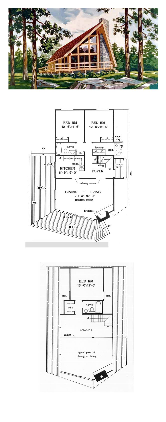 A Frame House Plan 90603 | Total Living Area: 1416 Sq. Ft.