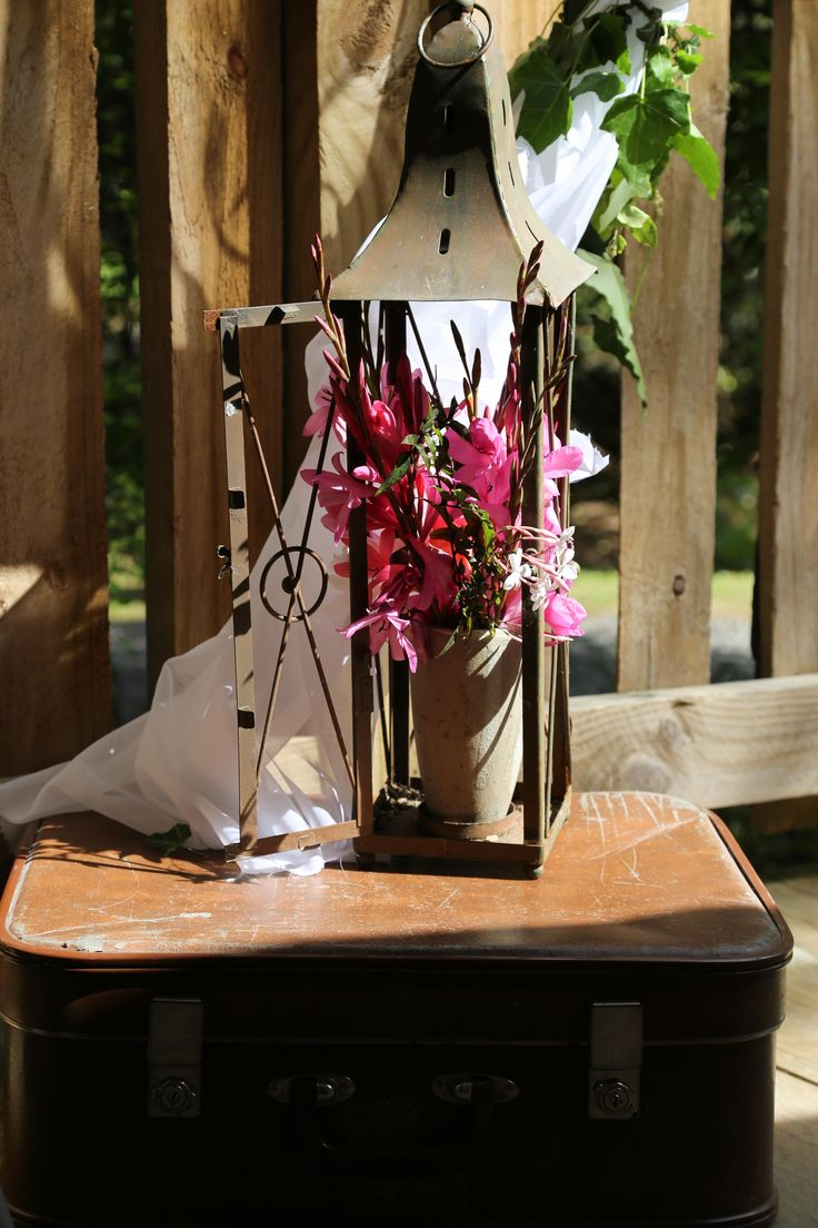 Grandpa's suitcase, vintage lantern and spring wild flowers www.hushaccommodation.co.nz