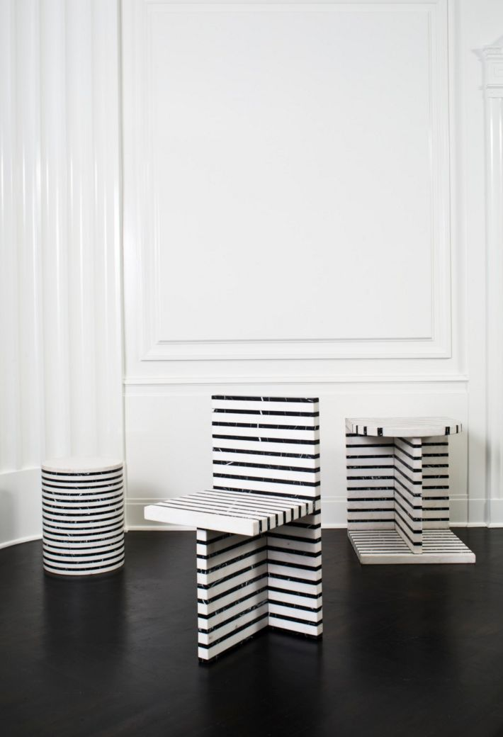 KELLY WEARSTLER | LINEAGE COLLECTION. Alternating layers of Negro Marquina and White Calacatta marble.