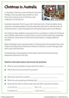 PrimaryLeap.co.uk - Reading comprehension - Christmas in Australia Worksheet