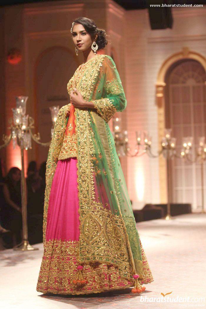 Pink Embroidered #Lehenga With Long Orange #Blouse & Green Dupatta. Preeti S Kapoor Show At AVIBFW 2013.