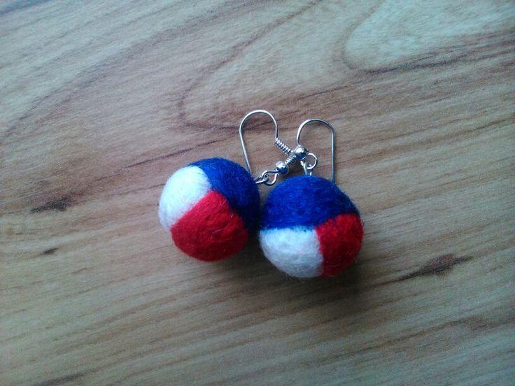 Felted earrings - tricolor