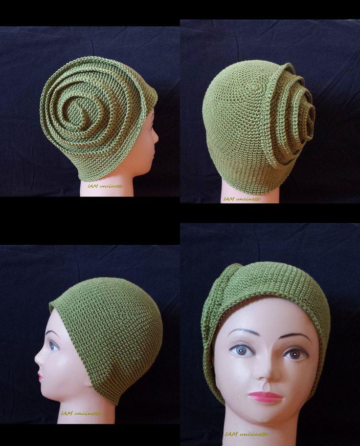 Cappello berretto spirale 100% cotone verde all'uncinetto. Crochet spiral hat, calot, cloche. 100% green cotton. Handmade. Made in Italy  http://www.misshobby.com/it/oggetti/cappello-berretto-spirale-da-ragazza-donna-in-cotone-verde-lavorato-alluncinetto