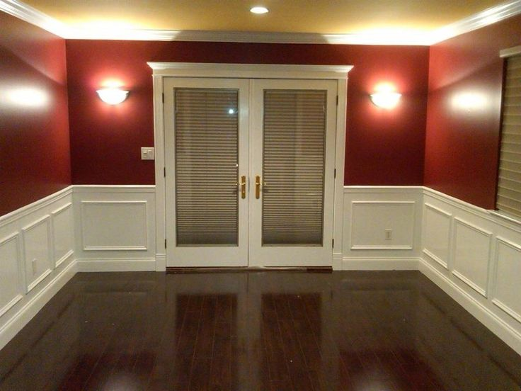 Dining Room After - New hardwood flooring, wainscoting ...