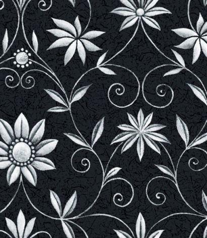 Sort tapet med snoede hvide blomster