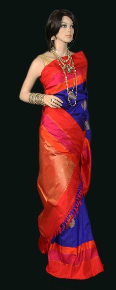 Brilliant Blue Kanjeevaram Silk Saree with Orange Border and Zari jari Buttas; LOVE THE COLORS