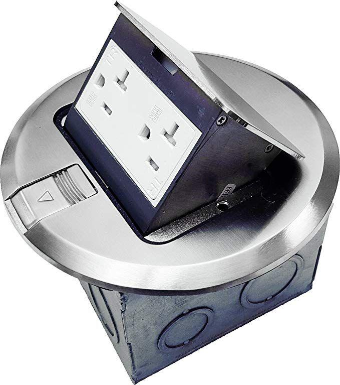 Enerlites Round Pop Up Floor Box Kit 6 Diameter Cover 20a Tamper Weather Resistant Receptacle Outlet Watertight Gasket Corrosive Re In 2020 Floor Boxes Receptacles