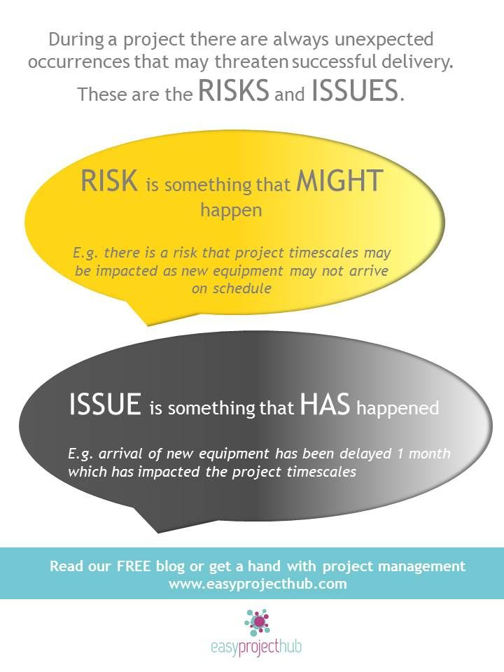 On any project no matter how big or how small there will be things that come up along the way that threaten the successful delivery of the project. These things are known as the project risks and issues and managing them is part of the Project Manager's role. Read more in our blog post.