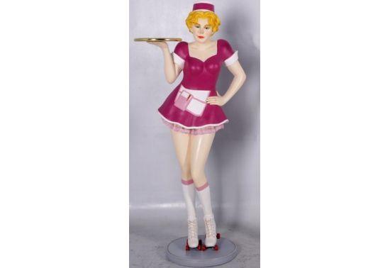 serveuse fifties en roller en robe vintage     statue en r u00e9sine serveuse de restaurant avec