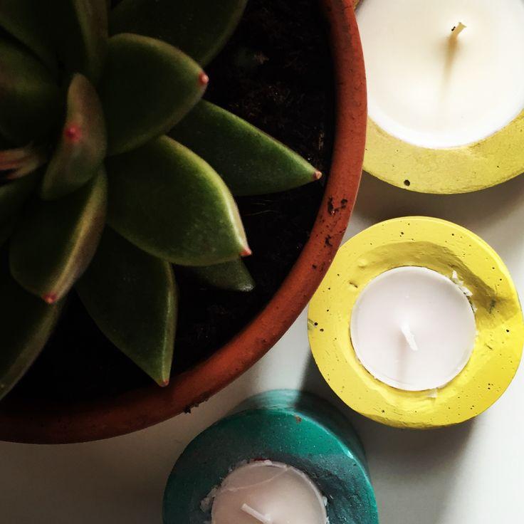 Concrete tea light holders @bellsandwhistlesmake.com
