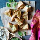 Try the Potato and Pea Samosas with Cucumber Raita Recipe on williams-sonoma.com/
