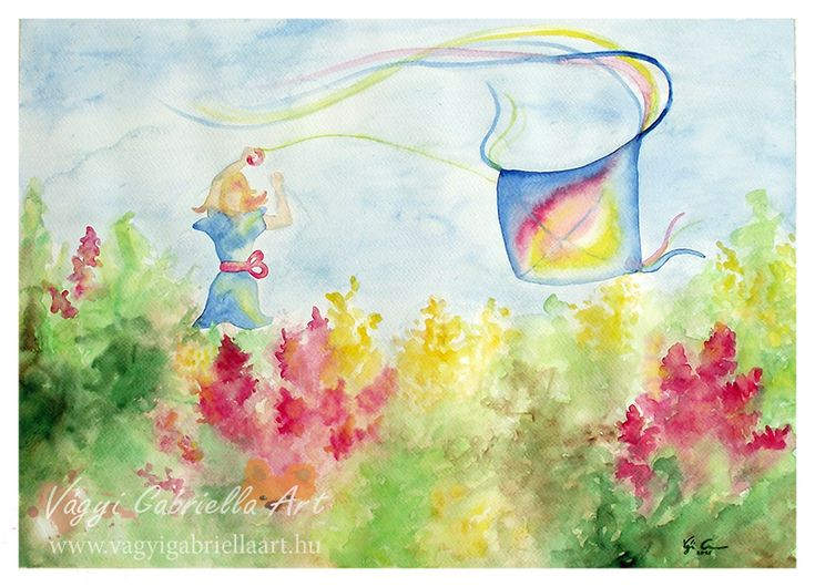 Sárkányeregető virágos réten című akvarell festmény - megvásárolható a linken #art #painting #akvarell #aquarell #spring #flower #mead #rét #floral #happy #girl #sárkányeregetés #kite-flying #winddragon #szélsárkány #colorful