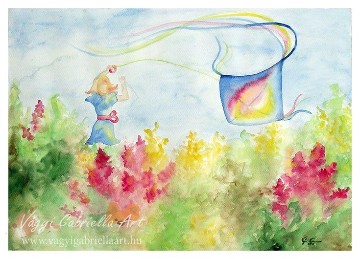 Sárkányeregető virágos réten című akvarell festmény - megvásárolható a linken #art #painting #akvarell #aquarell #spring #flower #mead #rét #floral #happy #girl #sárkányeregetés #kite-flying #winddragon #szélsárkány #colorful