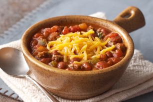 Red Bean Chili Recipe - Kraft Recipes. I used gourmet burger seasoning instead of adobo, and a can of rotel instead of plain diced tomatoes and added one small chopped Roma tomato.