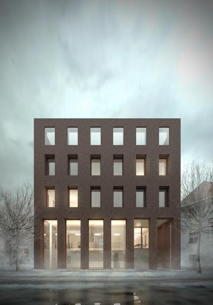 Abstrakte Architektonische Darstellung eines Bürogebäudes in Gütersloh von Hauer Architekten BDA, Bild von loomn.de.