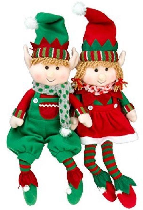 "Elf Plush Christmas Stuffed Toys SET of 2 Boy Girl Dangling Feet Décor 18"" NEW #SCSDirect"