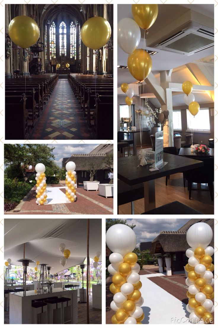 Ballondecoraties met en zonder helium in wit en goud. Balloondecorations with and without helium in white and gold.