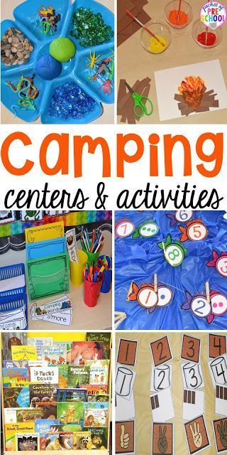 Camping themed centers and activities for preschool, pre-k, and kindergarten students.