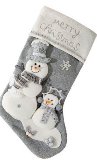 Klasyczna dekoracyjna skarpeta szara Merry Christmas z bałwankami