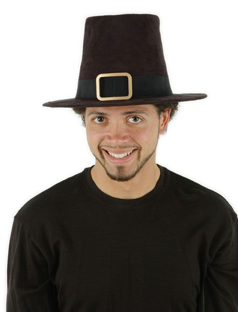 Mens Deluxe Pilgrim Hat - This is a deluxe Pilgrim hat, who wouldn't want to eat turkey dinner in this hat?  This authentic pilgrim hat is made of ultra suede. It is a grosgrain hat band with a goldish buckle. It has an elastic cotton sweat band inside. It is about 18 cm tall and fits an adult head around 57 - 61 cm or 23.5 inches.   This hat makes the perfect addition for your pilgrim this Thanksgiving. Would be great for Halloween, plays and fun! #thanksgiving #yyc #costume #classic #hat