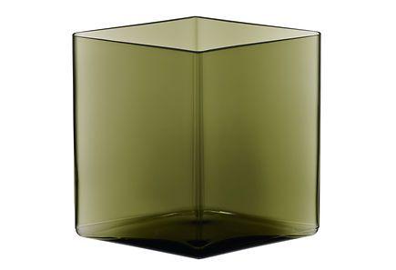 Iittala Ruutu maljakko 205x180 mm, sammaleenvihreä