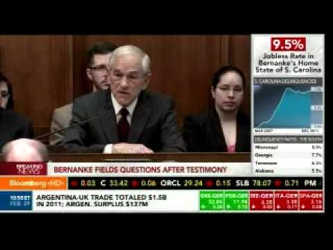 "Ron Paul Just Put on a Great Show In Front of Bernanke-6 min.video. ""You just missed a classic Ron Paul tirade against Bernanke.  He claims that inflation is really at 9 percent, vs. Bernanke's estimate of 2 percent, so he says they should split the difference at 5 percent.  He held up an ounce of silver, and then brought up how much gasoline he could get with it.""    Read more: <a…"