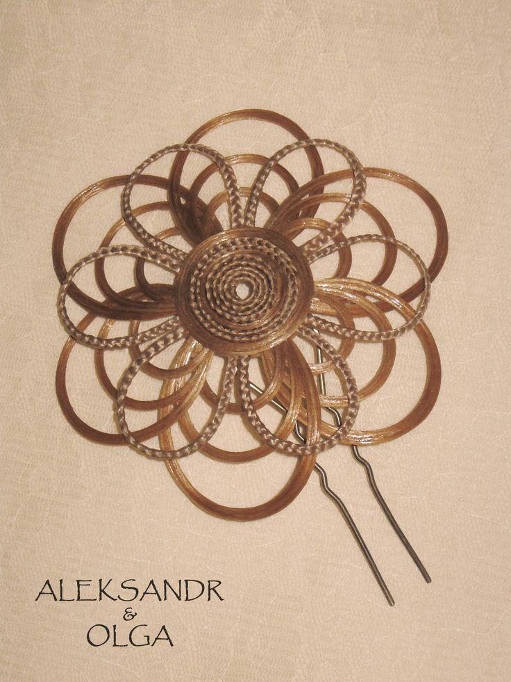 Украшение - ЦВЕТОК на шпильке - постиж, пшеничный блонд (из натуральных волос) http://www.aleksandr-and-olga.ru/ http://www.livemaster.ru/hair-jewellery