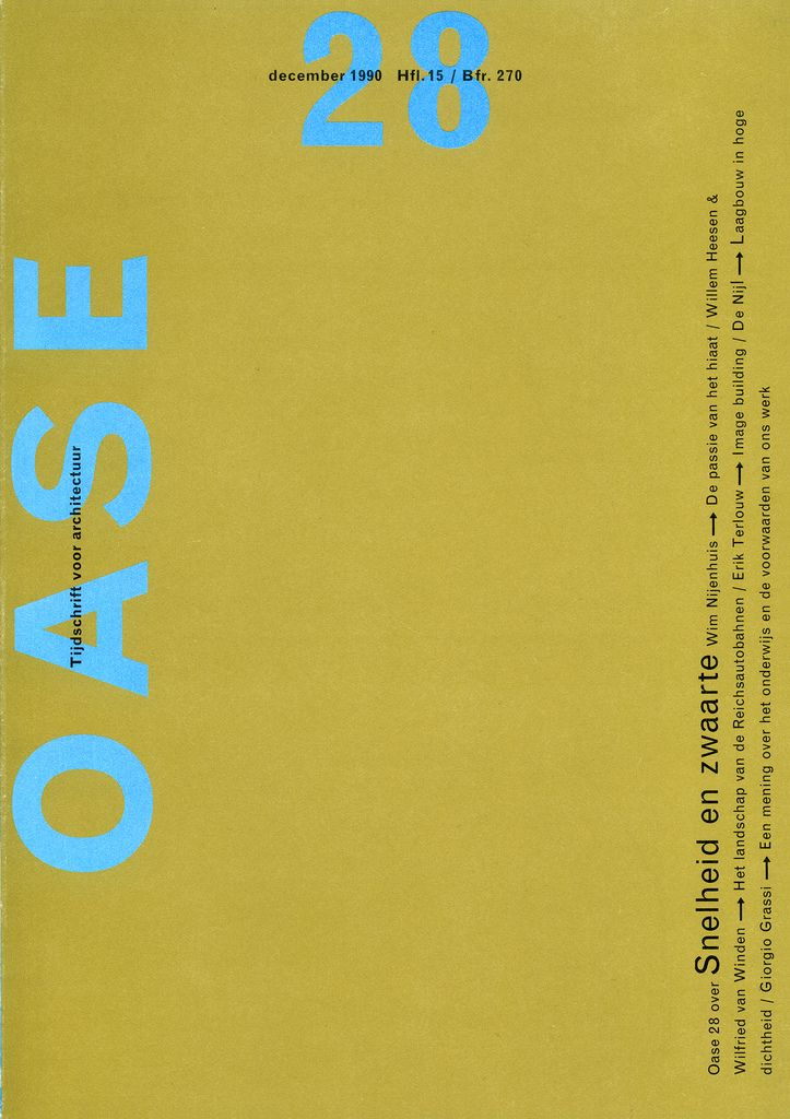 OASE Magazine 28, 1990. Cover and table of contents.  Karel Martens, designer. The first issue of OASE designed by Martens./독특한 배열