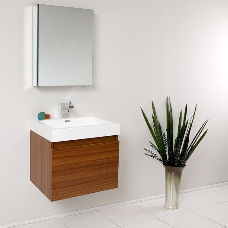 fresca nano teak modern bathroom vanity w medicine cabinet at hudson reed 23w
